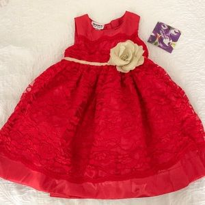 Red lace kids formal dress